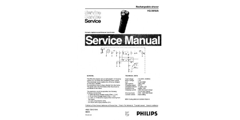 Philips HQ2810 Service Manual