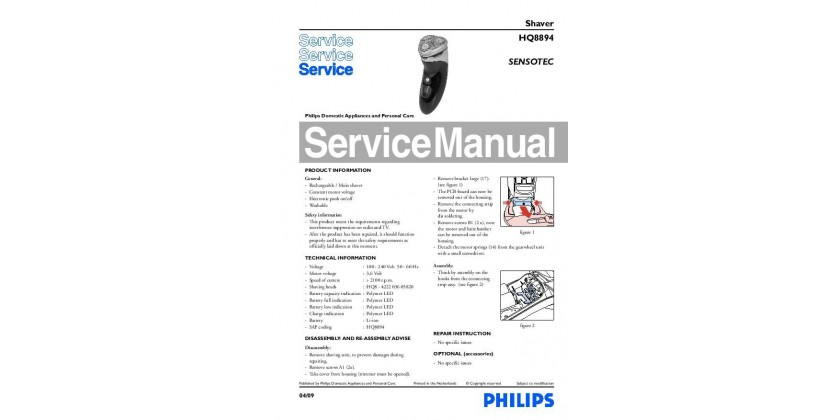 Philips HQ8894 Service Manual released