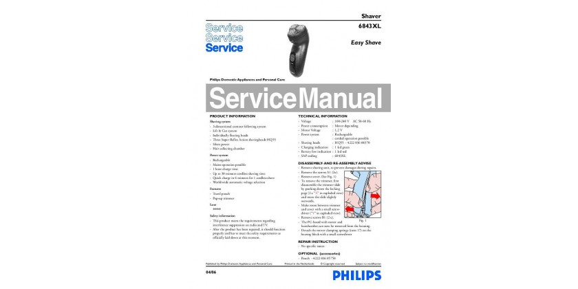 Philips 6843 Easy Shave Service Manual